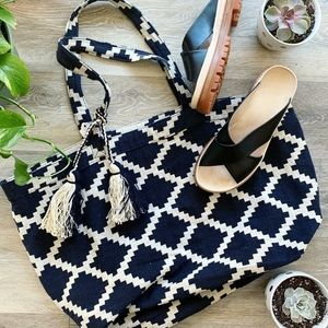 Madewell Navy Patterned Tote